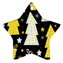 Yellow playful Xmas Star Ornament (Two Sides)