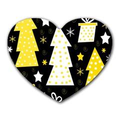 Yellow playful Xmas Heart Mousepads