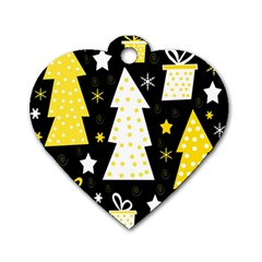 Yellow playful Xmas Dog Tag Heart (Two Sides)