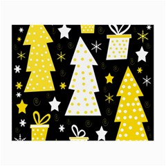 Yellow playful Xmas Small Glasses Cloth (2-Side)