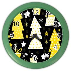 Yellow playful Xmas Color Wall Clocks