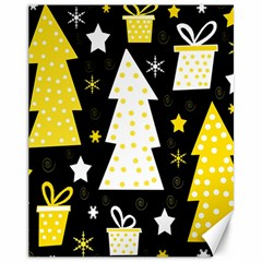 Yellow playful Xmas Canvas 11  x 14
