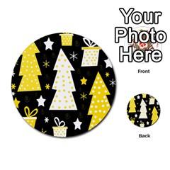 Yellow playful Xmas Multi-purpose Cards (Round)