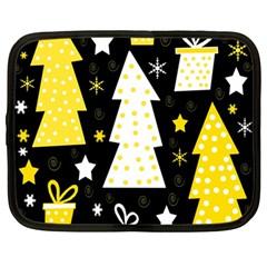 Yellow playful Xmas Netbook Case (Large)