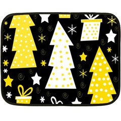Yellow playful Xmas Double Sided Fleece Blanket (Mini)