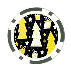 Yellow playful Xmas Poker Chip Card Guards (10 pack)