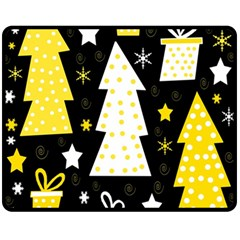 Yellow playful Xmas Fleece Blanket (Medium)