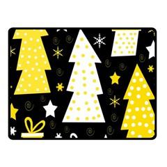 Yellow playful Xmas Fleece Blanket (Small)