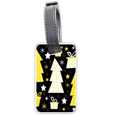 Yellow playful Xmas Luggage Tags (One Side)