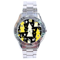 Yellow playful Xmas Stainless Steel Analogue Watch