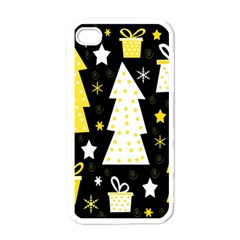 Yellow playful Xmas Apple iPhone 4 Case (White)
