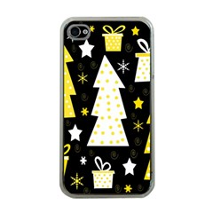 Yellow playful Xmas Apple iPhone 4 Case (Clear)
