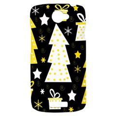 Yellow playful Xmas HTC One S Hardshell Case