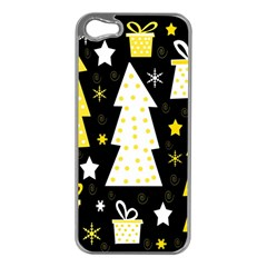 Yellow playful Xmas Apple iPhone 5 Case (Silver)