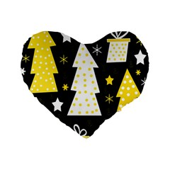 Yellow playful Xmas Standard 16  Premium Heart Shape Cushions