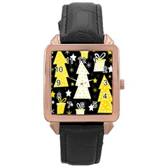Yellow playful Xmas Rose Gold Leather Watch