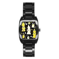 Yellow playful Xmas Stainless Steel Barrel Watch