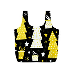 Yellow playful Xmas Full Print Recycle Bags (S)