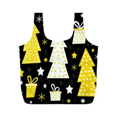 Yellow playful Xmas Full Print Recycle Bags (M)