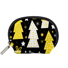 Yellow playful Xmas Accessory Pouches (Small)
