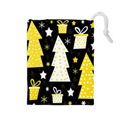 Yellow playful Xmas Drawstring Pouches (Large)