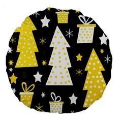 Yellow playful Xmas Large 18  Premium Flano Round Cushions