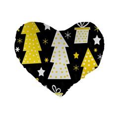 Yellow playful Xmas Standard 16  Premium Flano Heart Shape Cushions