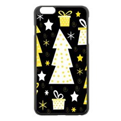 Yellow playful Xmas Apple iPhone 6 Plus/6S Plus Black Enamel Case