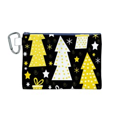 Yellow playful Xmas Canvas Cosmetic Bag (M)
