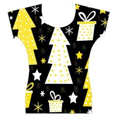 Yellow playful Xmas Women s Cap Sleeve Top
