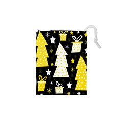 Yellow playful Xmas Drawstring Pouches (XS)