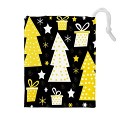 Yellow playful Xmas Drawstring Pouches (Extra Large)