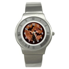 Halloween Card Scrapbook Page Stainless Steel Watch