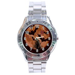 Halloween Card Scrapbook Page Stainless Steel Analogue Watch
