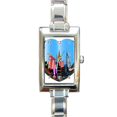 Heart Shape City Love  Rectangle Italian Charm Watch