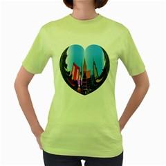 Heart Shape City Love  Women s Green T-Shirt