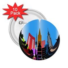 Heart Shape City Love  2.25  Buttons (10 pack)