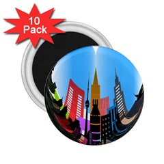 Heart Shape City Love  2.25  Magnets (10 pack)