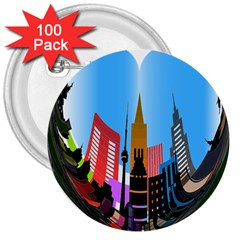 Heart Shape City Love  3  Buttons (100 pack)