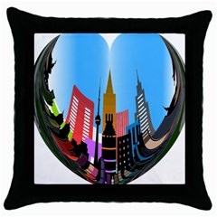 Heart Shape City Love  Throw Pillow Case (Black)