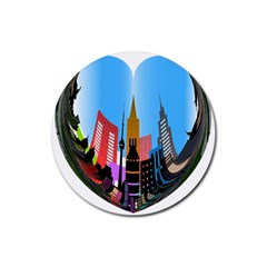 Heart Shape City Love  Rubber Round Coaster (4 pack)