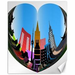 Heart Shape City Love  Canvas 16  x 20