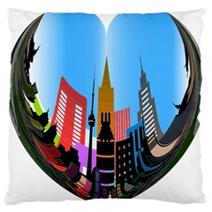 Heart Shape City Love  Large Cushion Case (Two Sides)