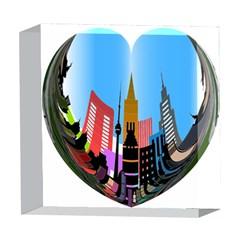 Heart Shape City Love  5  x 5  Acrylic Photo Blocks