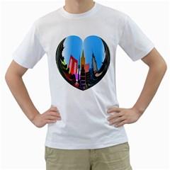 Heart Shape City Love  Men s T-Shirt (White)