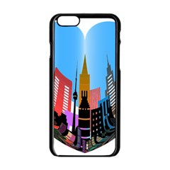 Heart Shape City Love  Apple iPhone 6/6S Black Enamel Case