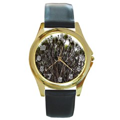 Inflorescences Round Gold Metal Watch