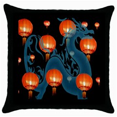 Lampion Throw Pillow Case (Black)
