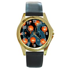 Lampion Round Gold Metal Watch