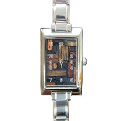 Letters Wooden Old Artwork Vintage Rectangle Italian Charm Watch
